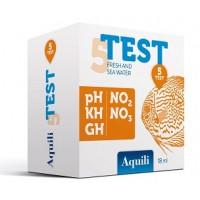 Aquili Test 5 in 1 pH – GH – KH – NO2 - NO3  a reagenti per acqua dolce...